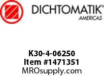 Dichtomatik K30-4-06250 PISTON SEAL PTFE SQUARE CAP PISTON SEAL WITH NBR 70 DURO O-RING INCH