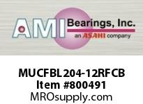 AMI MUCFBL204-12RFCB 3/4 STAINLESS SET SCREW RF BLACK 3- OPN COV SINGLE ROW BALL BEARING
