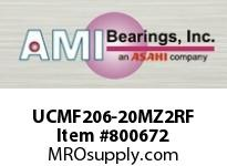 AMI UCMF206-20MZ2RF 1-1/4 ZINC SET SCREW RF STAINLESS 4 SINGLE ROW BALL BEARING