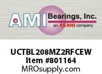 AMI UCTBL208MZ2RFCEW 40MM ZINC SET SCREW RF WHITE TB PLW COV SINGLE ROW BALL BEARING