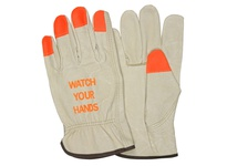 MCR 3413HVIXXL Premium Grade Grain Pigskin Driver Cream Color Orange Hi Vis Fingertips Watch Your Hands Logo Keystone Th