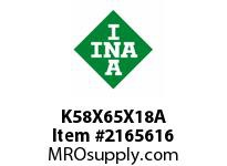 INA K58X65X18A Needle roller cage assembly