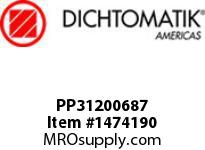 Dichtomatik PP31200687 SYMMETRICAL SEAL POLYURETHANE 92 DURO WITH NBR 70 O-RING STANDARD LOADED U-CUP INCH