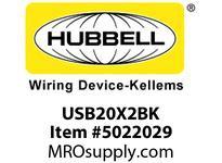 HBL_WDK USB20X2BK RECEP DUP 20A 125V3.8A 5V USB PORTBK