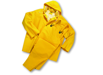 West Chester 4035/XXXXXXL 35ml PVC over Polyester 3pcs Rain Suit Detachable Hood - Yellow