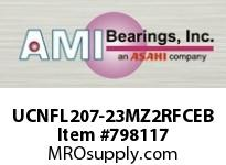 AMI UCNFL207-23MZ2RFCEB 1-7/16 ZINC SET SCREW RF BLACK 2-BO FLANGE CLS COV SINGLE ROW BALL BEARING