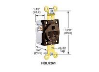 HBL-WDK HBL5261BK SGL RCPT IND GRD 15A 125V 5-15R BK