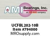 AMI UCFBL202-10B 5/8 WIDE SET SCREW BLACK 3-BOLT FLA SINGLE ROW BALL BEARING