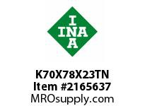 INA K70X78X23TN Needle roller cage assembly