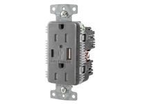HBL_WDK USB15AC5GY RCPT DUP 15A 125V 5A 5V USB PORT AC GY