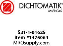 Dichtomatik S31-1-01625 ROD SEAL 40 PERCENT BRONZE FILLED PTFE BUFFER SEAL WITH NBR70 O-RING INCH - 5pc MINIMUM ORDER