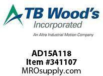 TBWOODS AD15A118 AD15-A 1-1/8X1/4KW FF CPLG HUB