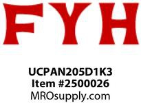 FYH UCPAN205D1K3 25MM ND SS HI TEMP NON CONTACT TAP BASED