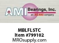 AMI MBLFL5TC 25MM STAINLESS NAR SET SCREW TEFLON ROW BALL BEARING
