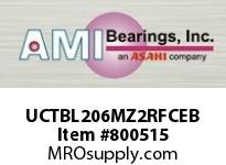 AMI UCTBL206MZ2RFCEB 30MM ZINC SET SCREW RF BLACK TB PLW COV SINGLE ROW BALL BEARING
