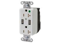 HBL_WDK SNAP8300USBW USB CHGR SNAP HG 20A125V DUP 3A5V PT WH