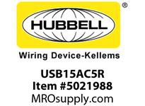 HBL_WDK USB15AC5R RCPT DUP 15A 125V 5A 5V USB PORT AC R