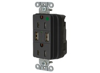 HBL_WDK SNAP8200USBBK USB CHGR SNAP HG 15A125V DUP 3A5V PT BK