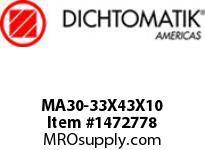 Dichtomatik MA30-33X43X10 ROD SEAL POLYURETHANE 92 DURO ROD SEAL METRIC
