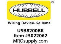 HBL_WDK USB8200BK RECEP DUP HG 15A 125V 3.8A 5V USBBK
