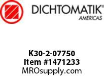 Dichtomatik K30-2-07750 PISTON SEAL PTFE SQUARE CAP PISTON SEAL WITH NBR 70 DURO O-RING INCH