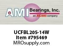AMI UCFBL205-14W 7/8 WIDE SET SCREW WHITE 3-BOLT FLA SINGLE ROW BALL BEARING