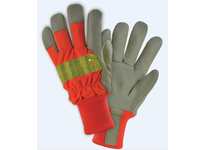 West Chester HVO1555/L Premium Grain Pigskin Palm Hi-Vis Orange Polyester Back 100g Thinsulate lining Knit Wrist 3M Scotchlite Tape