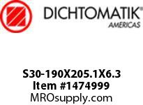 Dichtomatik S30-190X205.1X6.3 ROD SEAL 40 PERCENT BRONZE FILLED PTFE ROD SEAL WITH NBR 70 O-RING METRIC