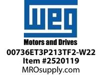 WEG 00736ET3P213TF2-W22 7.5HP 3600 3 60 200V TEFC-NEMA Pr