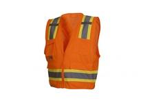 Pyramex RCZ2420M Hi-Vis Orange Vest with Contrasting Reflective Tape - Size Medium