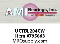 AMI UCTBL204CW 20MM WIDE SET SCREW WHITE TB PLW BL ROW BALL BEARING