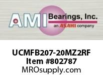 AMI UCMFB207-20MZ2RF 1-1/4 ZINC SET SCREW RF STAINLESS 3 FLANGE SINGLE ROW BALL BEARING