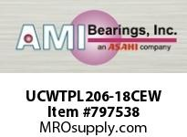 AMI UCWTPL206-18CEW 1-1/8 WIDE SET SCREW WHITE TAKE-UP SINGLE ROW BALL BEARING