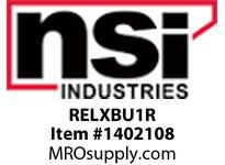 NSI RELXBU1R RECESSED EDGE-LIT LED EXIT BATTERY BACKUP ONE FACE RED LETTERING ALUMINUM/ACRYLIC HOUSING 120/277V.