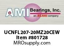 AMI UCNFL207-20MZ20CEW 1-1/4 KANIGEN SET SCREW WHITE 2-BOL FLANGE CLS COV SINGLE ROW BALL BEARING