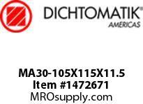 Dichtomatik MA30-105X115X11.5 ROD SEAL POLYURETHANE 92 DURO ROD SEAL METRIC