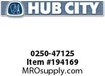 HUBCITY 0250-47125 HW2073IS 310.02 .50HP 2.000 HELICAL-WORM DRIVE