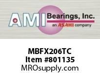 AMI MBFX206TC 30MM STAINLESS NAR SET SCREW TEFLON SINGLE ROW BALL BEARING