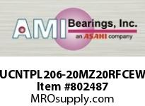 AMI UCNTPL206-20MZ20RFCEW 1-1/4 KANIGEN SET SCREW RF WHITE TA OPN/CLS COVERS SINGLE ROW BALL BEARING