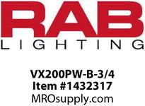 RAB VX200PW-B-3/4 VAPORPROOF 200 CEILING 4 BOX 3/4 BLACK WITH WHITE PERMA GL