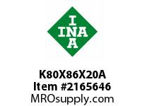 INA K80X86X20A Needle roller cage assembly