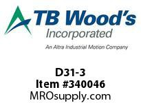 TBWOODS D31-3 HUB ROUGH BORE