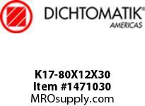 Dichtomatik K17-80X12X30 PISTON SEAL DOUBLE ACTING PISTON CUP NBR 90 DUROMETER AND METAL METRIC