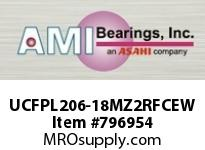 AMI UCFPL206-18MZ2RFCEW 1-1/8 ZINC SET SCREW RF WHITE 4-BOL CLS COV SINGLE ROW BALL BEARING