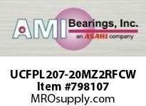 AMI UCFPL207-20MZ2RFCW 1-1/4 ZINC SET SCREW RF WHITE 4-BOL OPN COV SINGLE ROW BALL BEARING