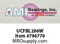 AMI UCFBL206W 30MM WIDE SET SCREW WHITE 3-BOLT FL ROW BALL BEARING