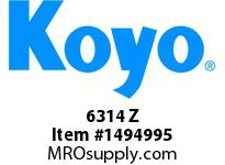 Koyo Bearing 6314 Z SINGLE ROW BALL BEARING