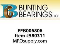 BUNTING FFB006806 3/8 X 1/2 X 3/4 X 11/16X3/32 SAE841 Standard Flange Bearing