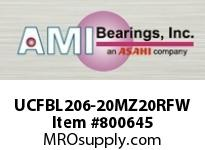 AMI UCFBL206-20MZ20RFW 1-1/4 KANIGEN SET SCREW RF WHITE 3- FLANGE BRACKET SINGLE ROW BALL BEARING