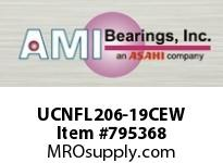 AMI UCNFL206-19CEW 1-3/16 WIDE SET SCREW WHITE 2-BOLT SINGLE ROW BALL BEARING
